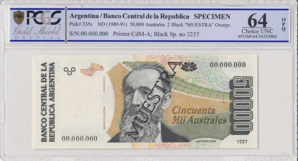 Argentine 50000 Australes , L Saenz Pena  - 1989 - Spécimen - PCGS 64 OPQ