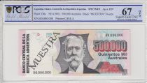Argentine 500000 Australes, M. Manuel Quitana  - 1991 - Spécimen - PCGS 67OPQ