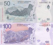 Argentine Lot 50 Pesos Condor et 100 Pesos Taruca  -  2018 (format vertical) - Neuf