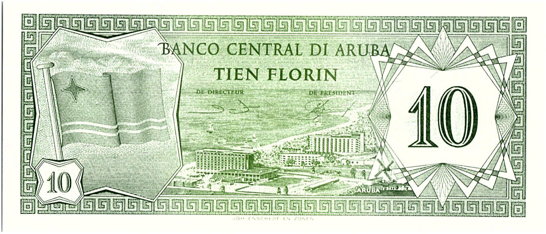 Aruba 10 Florin, Drapeau - Hotels - 1986