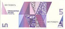 Aruba 5 Florin - Tortue - Formes géométriques - 1990