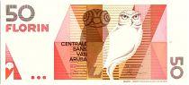 Aruba 50 Florin - Owl - Geometric forms - 1990
