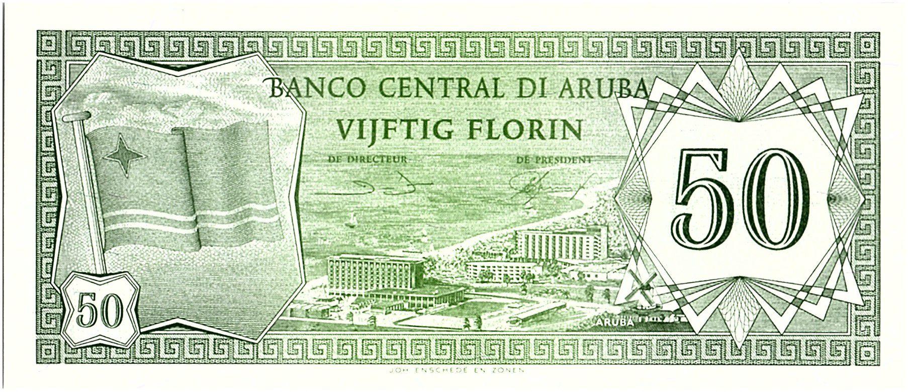 Aruba 50 Florin, Drapeau - Hotels - 1986