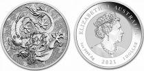 Australia 1 Dollar Dragons -  1 Oz Silver 2021