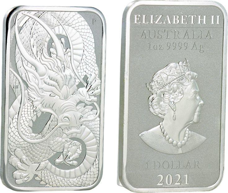 Australia 1 Dollar Elisabeth II - Dragon - 1 Oz Silver 2021