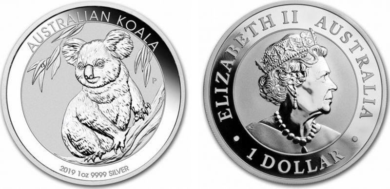 Australia 1 Dollar Elizabeth II - Koala 1 Oz 2019 Silver
