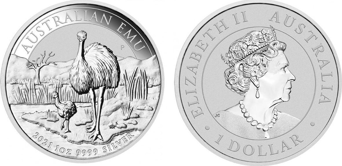 Australia 1 Dollar Emu -  1 Oz Silver 2021