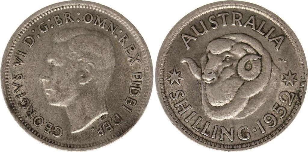 Australia 1 Shilling 1952 -George VI - Silver