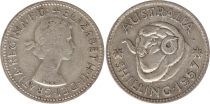 Australia 1 Shilling 1957 - Elizabeth II - Silver