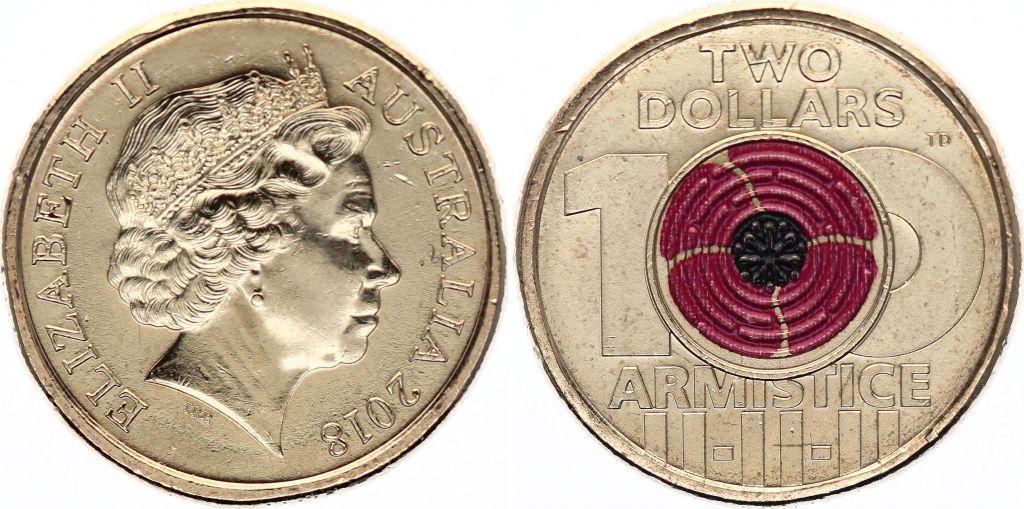 Australia 2 Dollars Elizabeth II - Armistice - 2018 Colorised