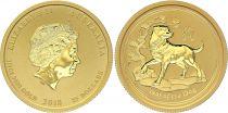 Australia 25 Dollars Elizabeth II - Year of Dog Gold 1/4 Oz 2018