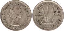 Australia 3 Pence 1955 - Elisabeth II - Silver
