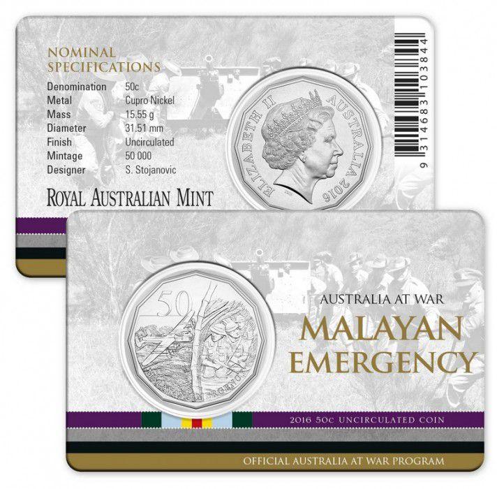 Australia 50 Cents Australia at war - Malayan emergency 2016