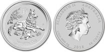 Australia 50 Cents Elizabeth II - Year of the dog - 1/2  Oz Silver 2018