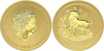 Australia 50 Dollars Elizabeth II - Year of Dog Gold 1/2 Oz 2018