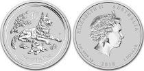 Australie 1 Dollar Elisabeth II - Année du Chien - 1 Once Argent 2018