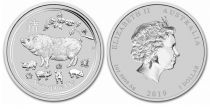 Australie 1 Dollar Elisabeth II - Année du Cochon - 1 Once Argent 2019
