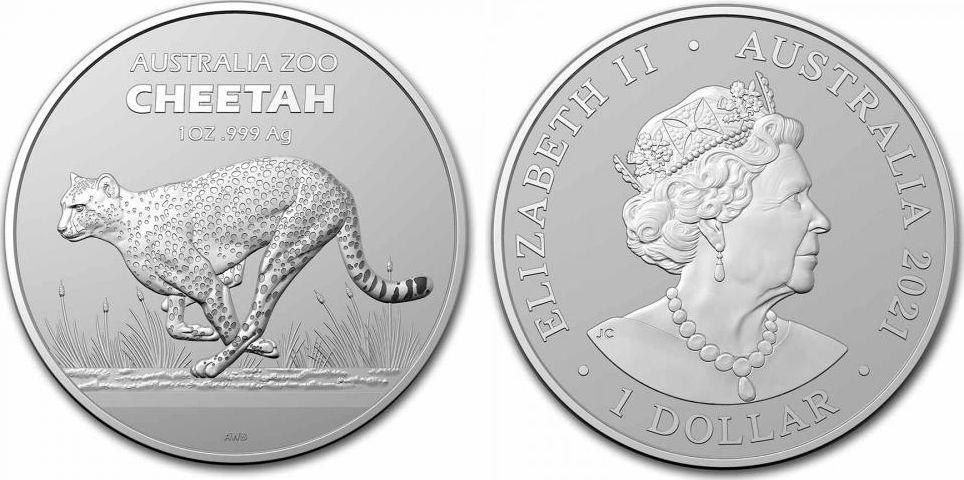 Australie 1 Dollar Elisabeth II - Cheetah - 1 Once Argent 2021