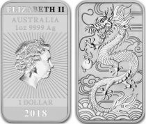 Australie 1 Dollar Elisabeth II - Dragon - 1 Once Argent 2018