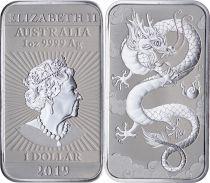 Australie 1 Dollar Elisabeth II - Dragon - 1 Once Argent 2019