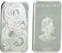 Australie 1 Dollar Elisabeth II - Dragon - 1 Once Argent 2021