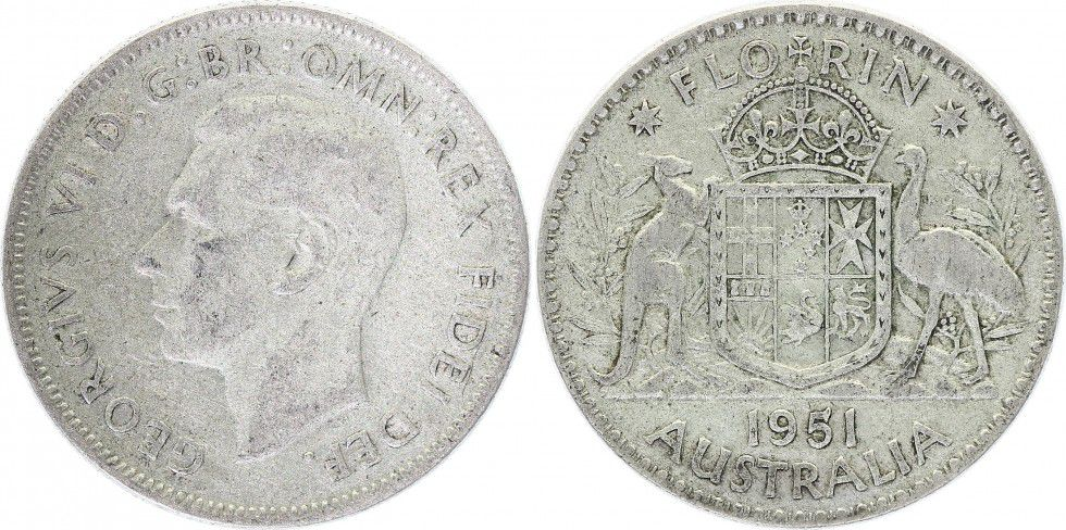Australie 1 Florin George VI - Argent - 1951