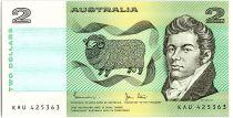Australie 2 Dollars  - MacArthur, mouton, épis de blé - 1983