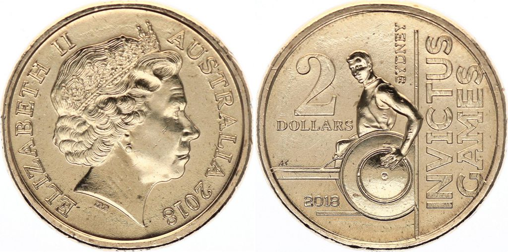 Australie 2 Dollars Elisabeth II - Invictus Games - 2018 Colorisée