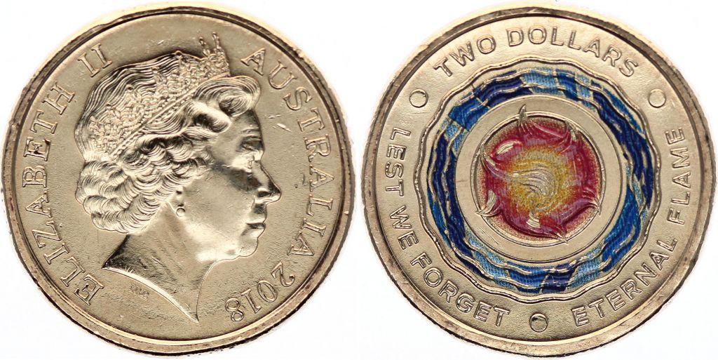 Australie 2 Dollars Elisabeth II - Lest we Forget - 2018 Colorisée