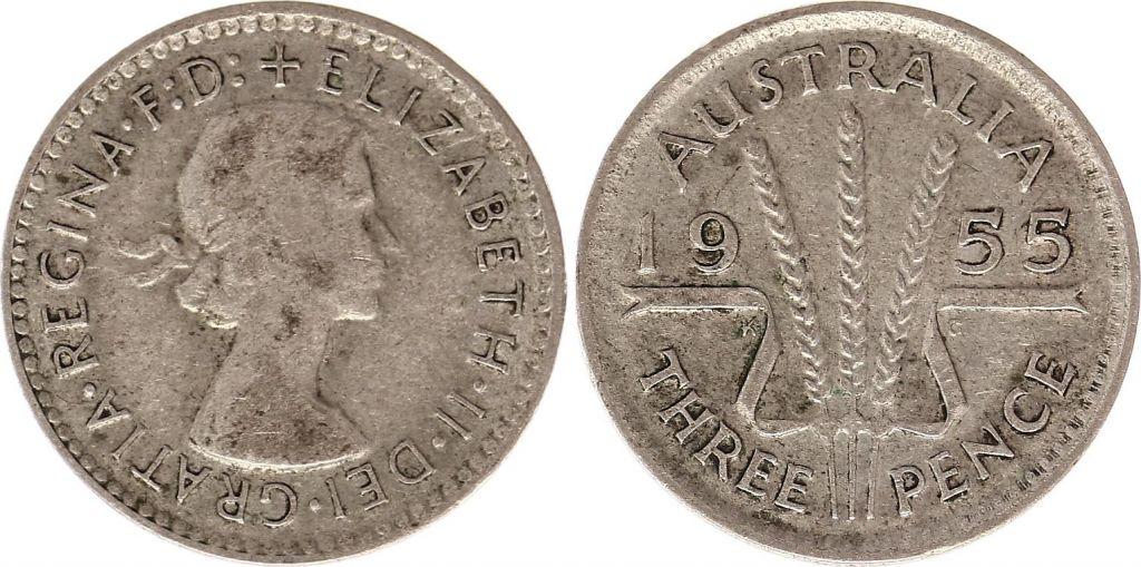 Australie 3 Pence 1955 - Elisabeth II- Argent