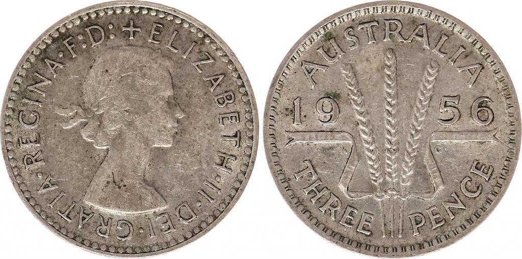 Australie 3 Pence 1956 - Elisabeth II- Argent