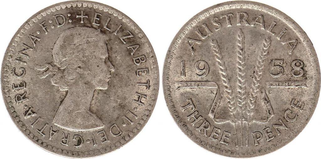 Australie 3 Pence 1958 - Elisabeth II- Argent