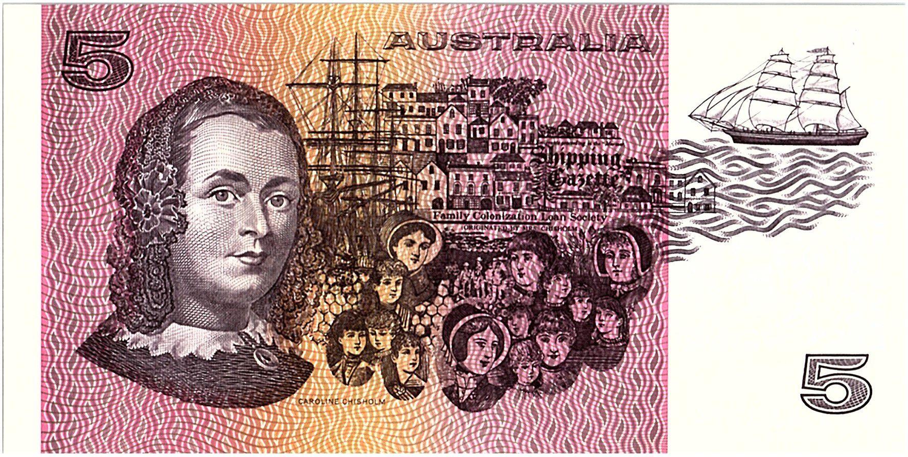 Australie 5 Dollars - Sir Joshef Bank, Caroline Chisholm - 1985