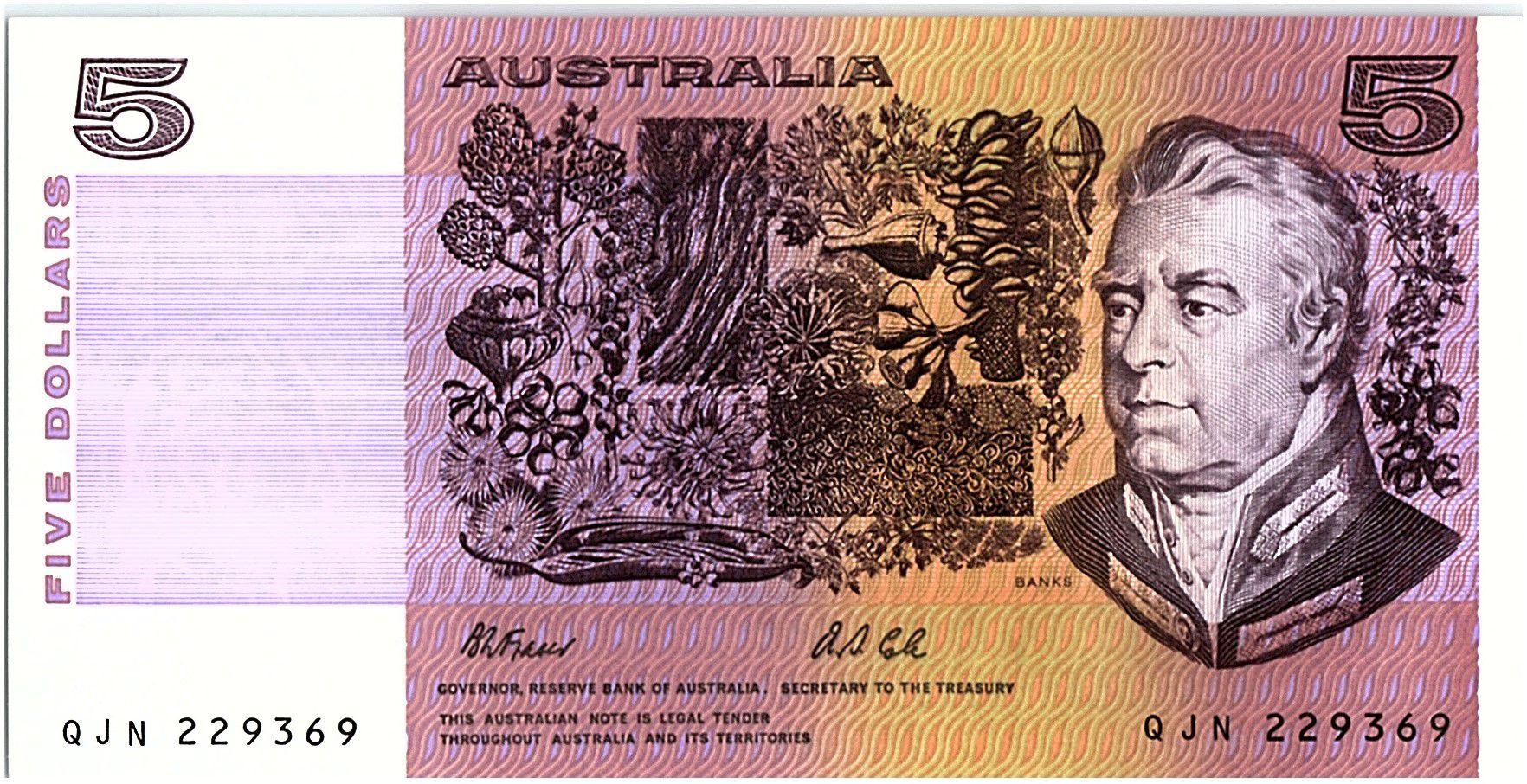 Australie 5 Dollars - Sir Joshef Bank, Caroline Chisholm - 1991