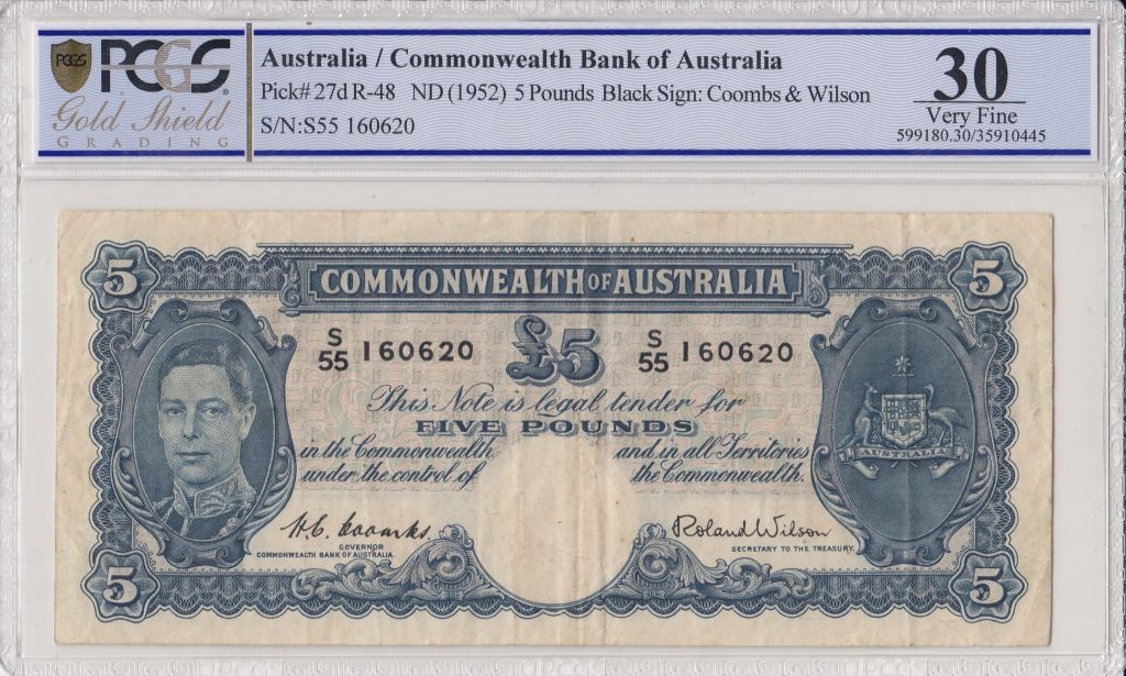 Australie 5 Pounds George VI - Travailleurs - 1952 - PCGS VF 30