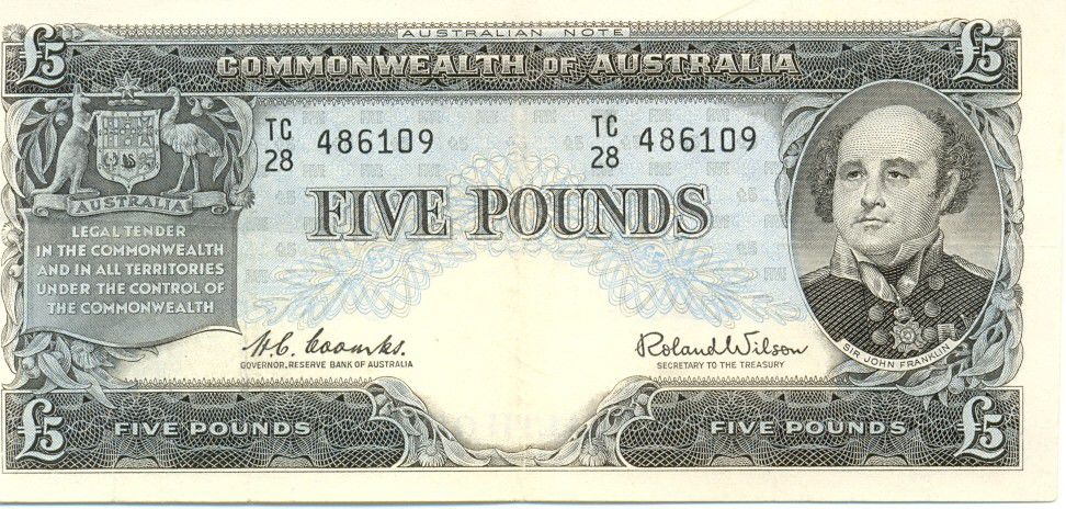Australie 5 Pounds Sir John Franklin