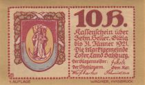 Austria 10 Heller 1921 - Coat of Arms, Mountains - City of Lofer, notgel 1st type