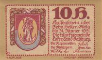 Austria 10 Heller 1921 - Coat of Arms, Mountains - City of Lofer, notgel 1st type