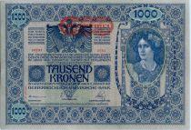 Austria 1000 Kronen Woman head, red ovpt Deustschosterreich - 1902 (1919) - II AUFLAGE