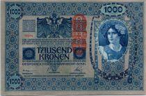 Austria 1000 Kronen Woman head, red ovpt Deustschosterreich - 1902 (1919)