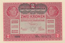 Austria 2 Kronen Heads of women - Green ovpt. - 1917