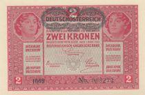 Austria 2 Kronen Heads of women - Green ovpt. - 1917