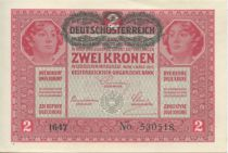 Austria 2 Kronen Heads of women - Green ovpt.