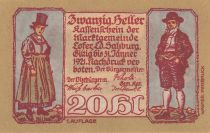 Austria 20 Heller 1921 - Man and Woman, mountain village - City of Lofer