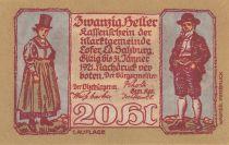 Austria 20 Heller 1921 - Man and Woman, mountain village - City of Lofer
