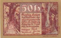 Austria 50 Heller 1921 - Mountain view - City of Lofer