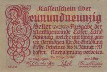 Austria 99 Heller 1921 - Mountains - City of Lofer