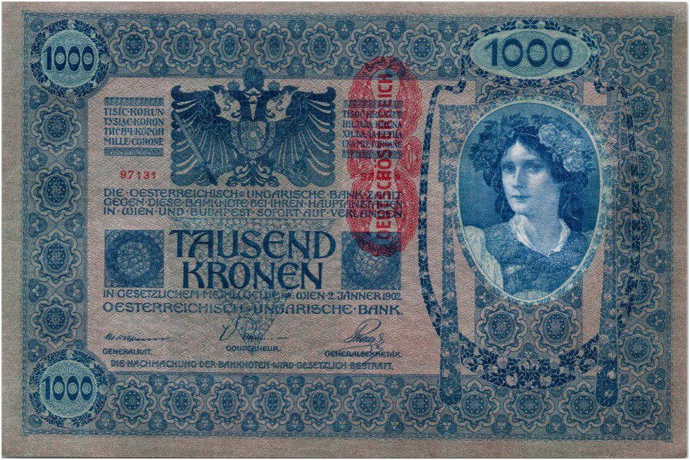 Autriche 1000 Kronen Femme, surcharge Deustschosterreich - 1902 (1919)