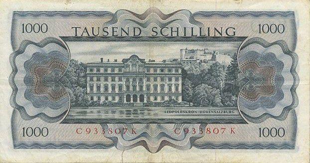 Autriche 1000 Schilling Bertha von Suttner - Château - 1966