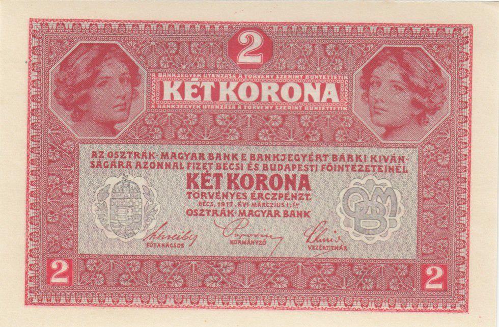 Autriche 2 Kronen Têtes de femmes - Surcharge verte - 1917